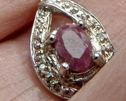 Marvelous 0.604 carat TW genuine Ruby over 0.925 sterling silver pendant