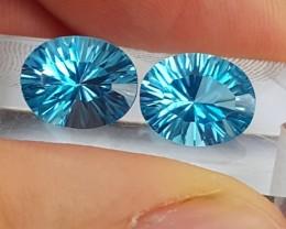 5.10cts, Blue Topaz, Custom cut,  Clean, Calibrated