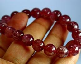 143 CT Natural Cherry Quartz Bracelets Carved Beads Stone Special Shape