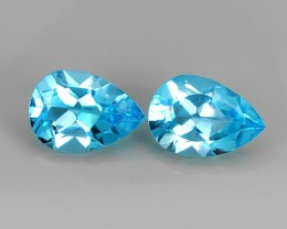 4.20 CTS DAZZLING NATURAL ULTRA RARE SWISS BLUE TOPAZ PEAR CUT BRAZIL 2 PC
