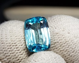 4.60 CTS NATURAL BEAUTIFUL CUSHION CUT BLUE ZIRCON FROM CAMBODIA