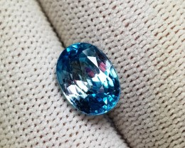 3.85 CTS NATURAL BEAUTIFUL OVAL MIXED BLUE ZIRCON FROM CAMBODIA