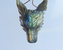 33ct Wholesale Labradorite Craved Wolf Head Pendant(18033102)