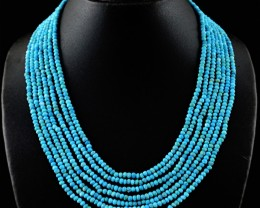 Genuine 270.00 Cts 7 Line Turquoise Beads Necklace