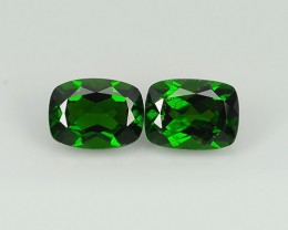 3.25 Cts Eye Catching Natural Rich Green Chrome Diopside Cushion Pair