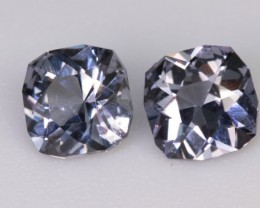 1.22 CTW SPINEL PAIR - STEEL BLUE-LAVENDER COLOR!  CALIBRATED!