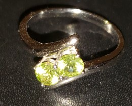 0.82 Ct Custom-Cut Neon Green Peridot 925 Silver Ring VVS+