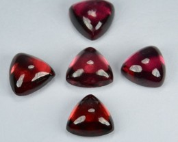 5.19 Cts Natural Pinkish Red Rhodolite Cabochon 5 Pcs Parcel