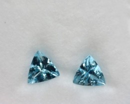 ~PAIR~ 4.95 Cts Natural AAA Santa maria Blue Aquamarine Trillion Cut Brazil