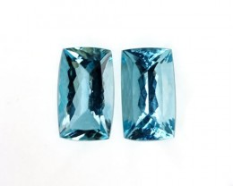 ~PAIR~ 17.95 Cts Natural AAA Santa maria Blue Aquamarine Cushion Cut Brazil