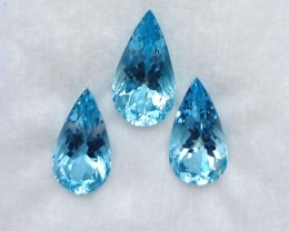 ~3 Pcs SET~ 15.54 Cts Natural AAA Santa maria Blue Aquamarine Pear Cut Braz
