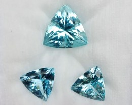 ~3 Pcs SET~ 17.65 Cts Natural AAA Santa maria Blue Aquamarine Trillion Braz
