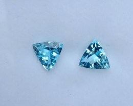 ~PAIR~ 5.51 Cts Natural AAA Santa maria Blue Aquamarine Trillion Cut Brazil