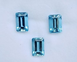 ~3 Pcs SET~ 13.88 Cts Natural AAA Santa maria Blue Aquamarine Octagon Brazi