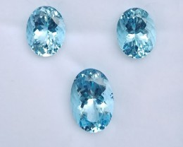 ~3 Pcs SET~ 25.52 Cts Natural AAA Santa maria Blue Aquamarine Oval Brazil