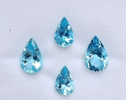 ~4 Pcs SET~ 13.87 Cts Natural AAA Santa maria Blue Aquamarine Pear Brazil