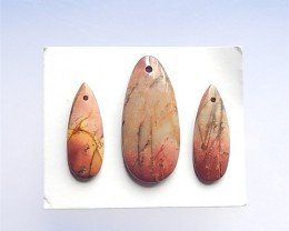 74.5Ct 3Pcs Specialoffer Teardrop   Multi-Color Picasso jasper  Pendant(180