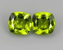 4.55  Cts natural cushion Cut West Himalays Pakistan Peridot 2 pcs