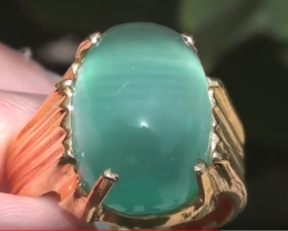 Cats Eye Green Calcite 11.71ct 18ct Solid Gold Ring