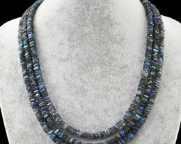 Genuine  416.50 Cts Blue & Golden Flash Labradorite Necklace