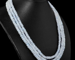 Genuine 395.00 Cts Blue Flash Moonstone Beads Necklace