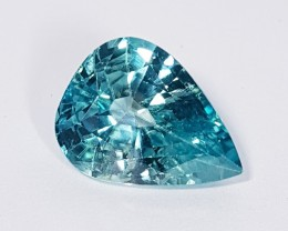 "15.20 ct "" Certified Gem(IGI) Lovely Pear Cut Natural Blue Zircon"