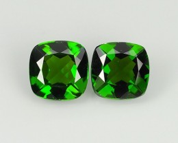 1.75 Cts Eye Catching Natural Rich Green Chrome Diopside Cushion Pair