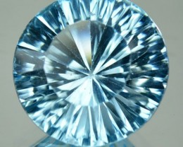 6.61 Cts Natural Blue Topaz 12 mm Round Millenium Cut  Brazil gem