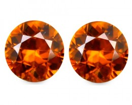 3.44 ct Sparkling  Natural  Beautiful Pair Round Brown Zircon Srilanka!!