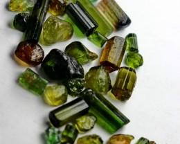 61 Ct Unheated ~ Natural  Superb Green Tourmaline Rough Lot