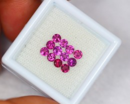 1.81Ct Natural Rhodolite Garnet Round Cut Lot V1098