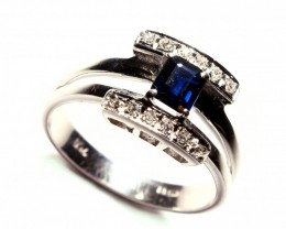 Gr3.80   18 k White Gold with Diamonds and Sapphire. Cts.0.60   FB6