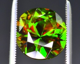 5.60 Ct Rarest ~ Marvelous Color Top Fire Green Sphene ~ Chrome