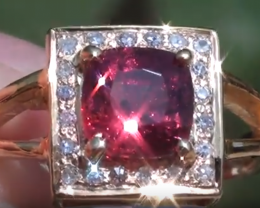 Mogok Red Spinel 2.15ct with Diamonds 18K Solid Yellow Gold Ring