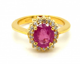 GIA Pink Sapphire  2.10ct with Diamonds Solid 18K Yellow Gold Cocktail Ring