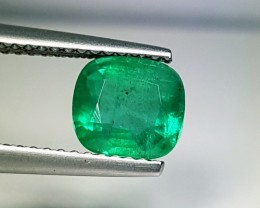 1.58 ct AAA Grade Green Cushion Cut Natural Emerald