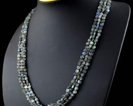 Genuine 149.50 Cts Blue & Golden Flash Labradorite Necklace