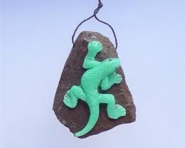 188.5ct New Design  Chrysoprase Craved Lizard Pendant (18041003)