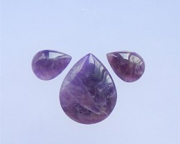 49.5ct  3pcs Hot Sale Teardrop Amethyst Cabochon 30x25x6mm. 18x13x5mm(18041
