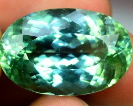 35.45 cts Oval Cut Green Spodumene Gemstone From Afghanistan (P)