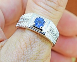 Natural Blue Sapphire  925 Sterling Silver Gents Ring SIZE 9 US  (SSR0323 )