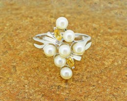 Natural Citrine & Pearl  925 Sterling Silver Ring SIZE 6 US (SSR0322 )