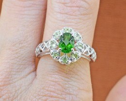 Natural Chrome Diopside & Peridot  925 Sterling Silver Ring SIZE 6 US