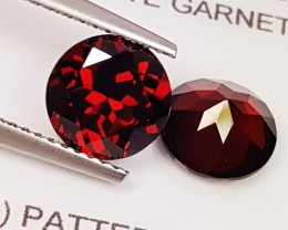 "4.12 ct ""IGI Certified"" Pair of Awesome Deep Red Round Cut Almand"
