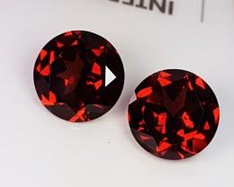 "4.07 ct ""IGI Certified"" Pair of Amazing Deep Red Round Cut Almand"