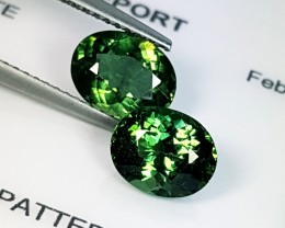 "3.16 ct ""IGI Certified"" Pair of Beautiful Green Oval Cut Natural"