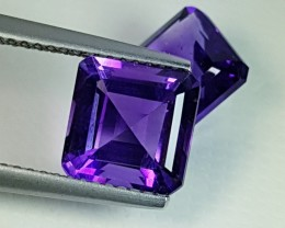 "5.01 ct ""IGI Certified"" Pair of AAA Grade Purple Square Cut Boliv"