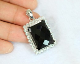 11.71g Natural Black Onyx 925 Sterling Silver Pendant