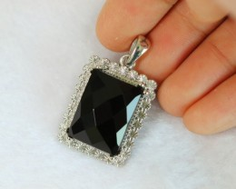 12.13g Natural Black Onyx 925 Sterling Silver Pendant