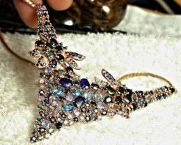164.0 Tcw. Sapphire, Zircon, Tanzanite, Rose Gold Plated Necklace - Superb